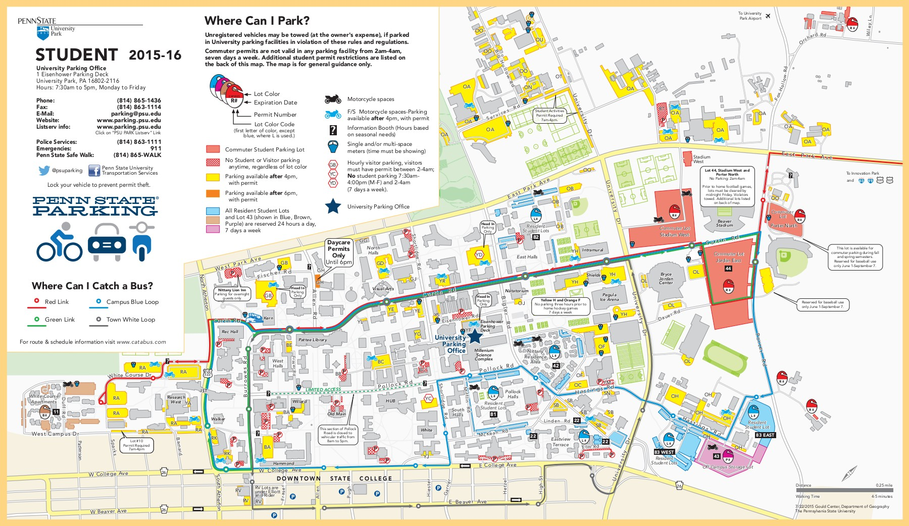 map of psu campus 2015 16 Student Parking Map And Regulations 1 map of psu campus