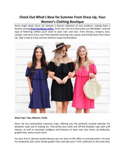 Check Out What S New For Summer From Dress Up Your Women S Clothing Boutique Pages 1 3 Text Version Anyflip