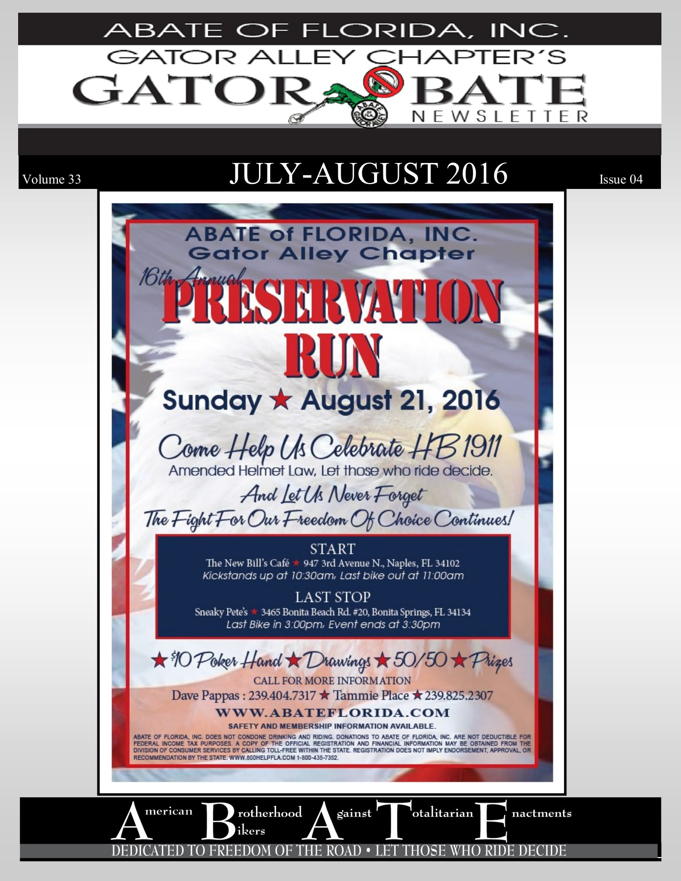 Abate of Florida, Inc Gator Alley Newsletter-July-Aug 2016