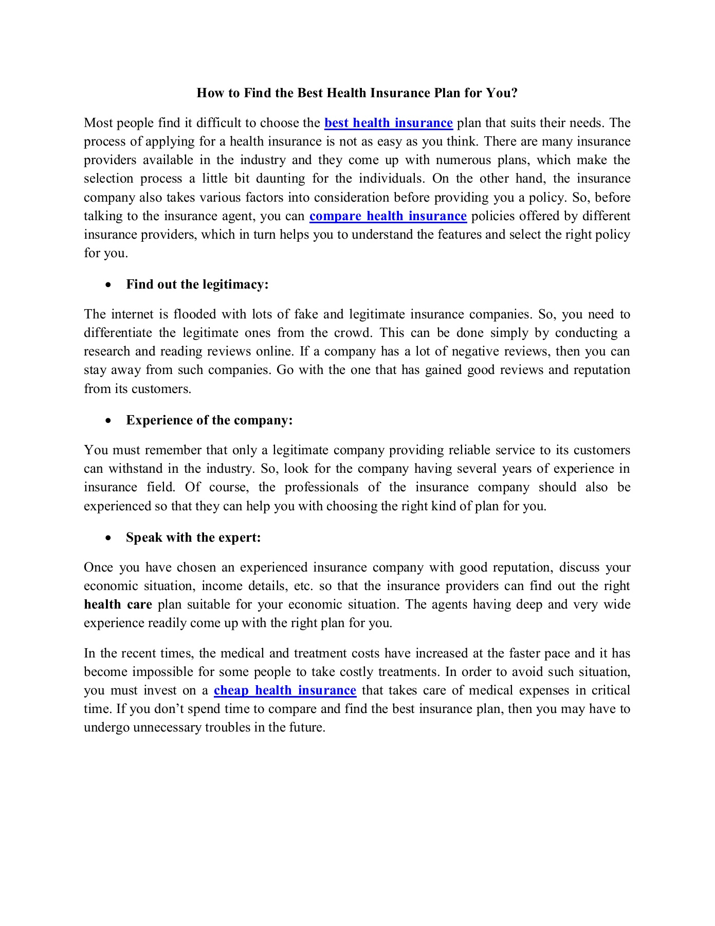 How To Find The Best Health Insurance Plan For You Pages 1 1 Text Version Anyflip