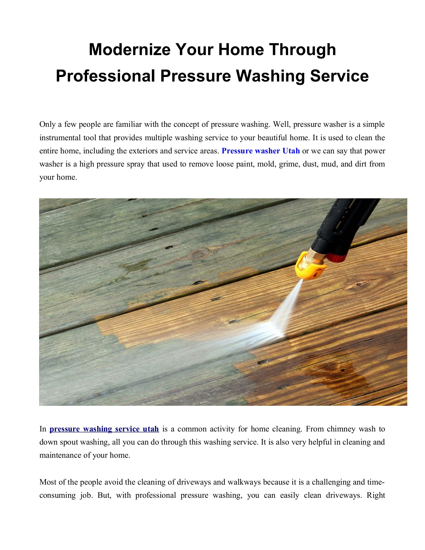 pressure washing service utah Pages 1 - 2 - Text Version