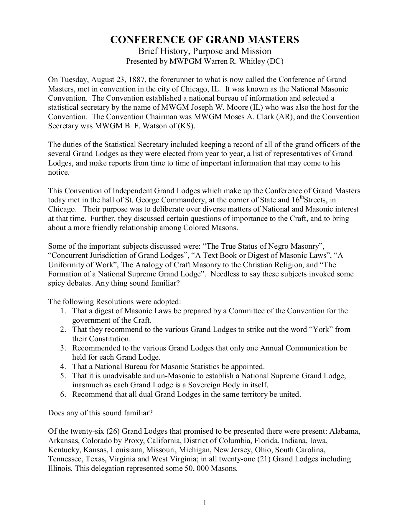 CONFERENCE OF GRAND MASTERS Pages 1 - 4 - Text Version | AnyFlip