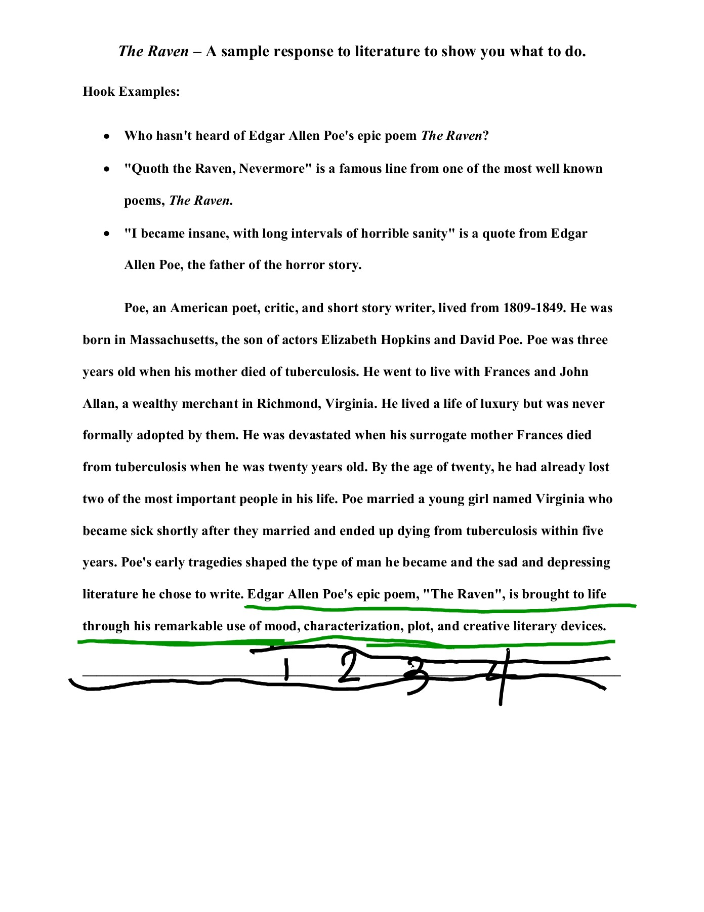The Raven A Sample Response To Literature To Show You What