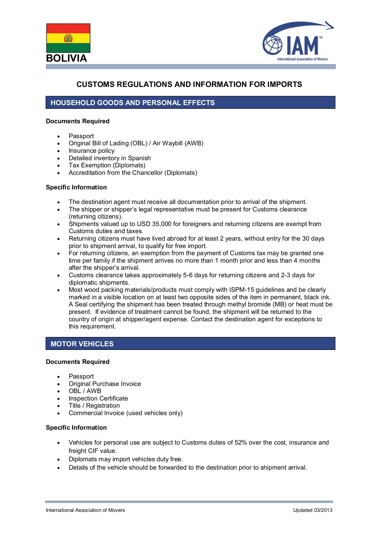 CUSTOMS REGULATIONS AND INFORMATION FOR IMPORTS Pages 1