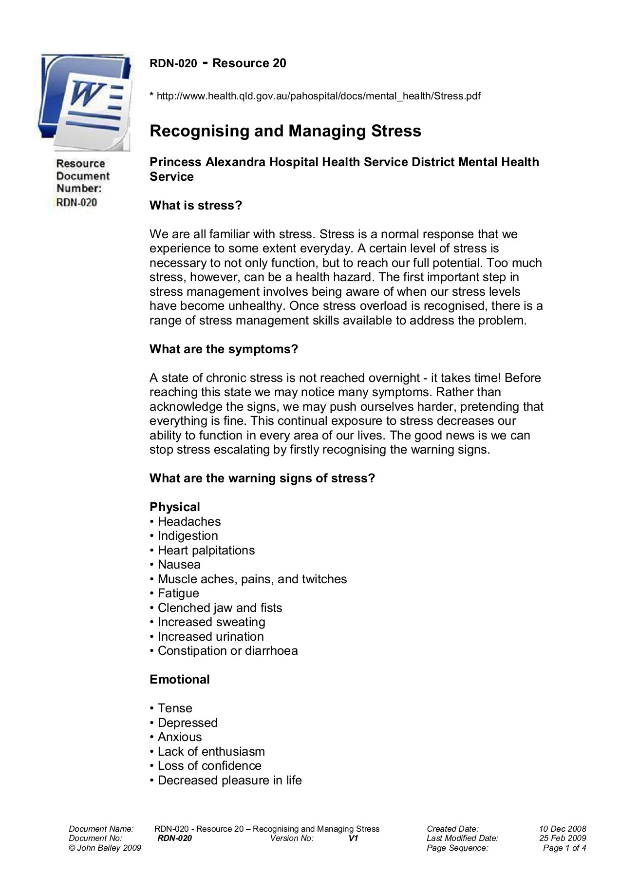 Recognising and Managing Stress - Inspire Education