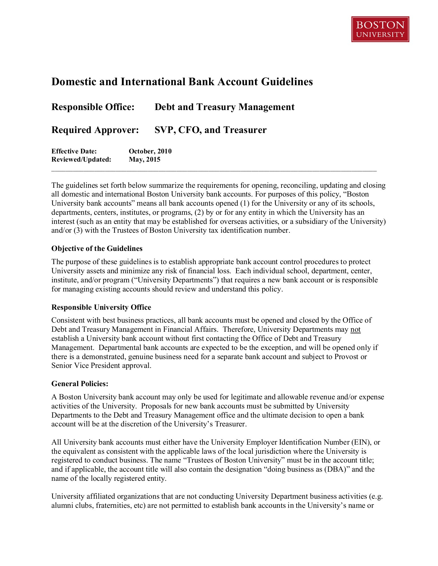 Domestic and International Bank Account Guidelines