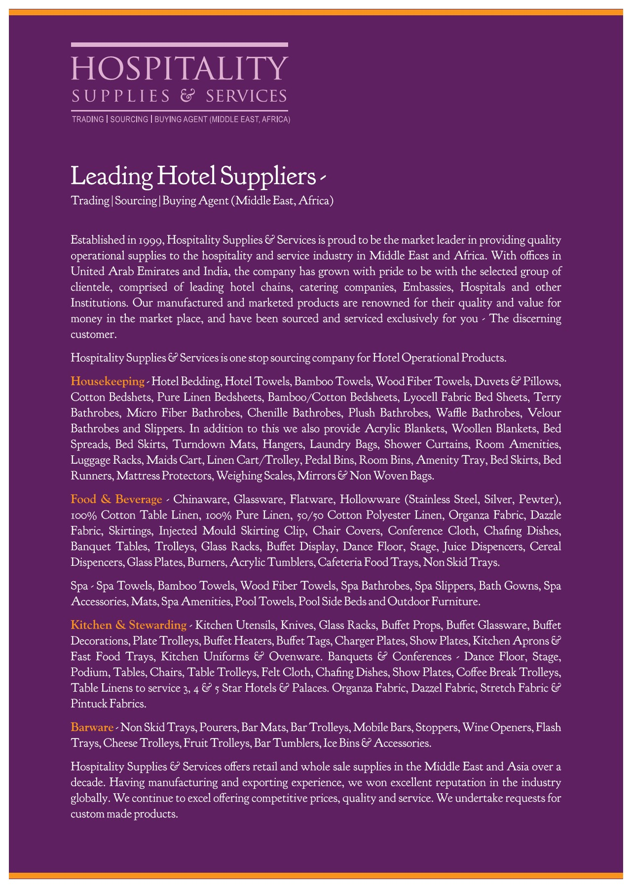Hospitality Supplies & Services