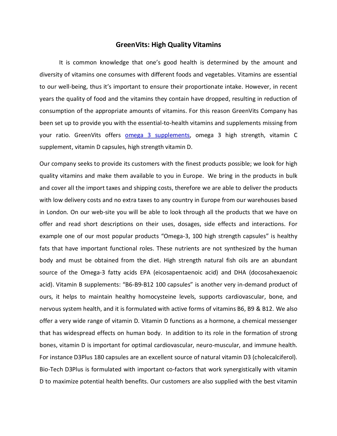 GreenVits: High Quality Vitamins Pages 1 - 2 - Text Version