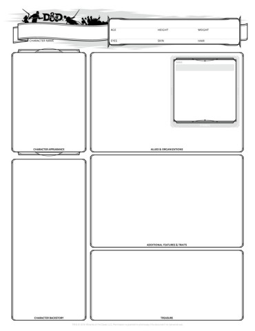 image relating to Printable Dungeons and Dragons Character Sheet identify TWC-DnD-5E-Identity-Sheet-v1.3