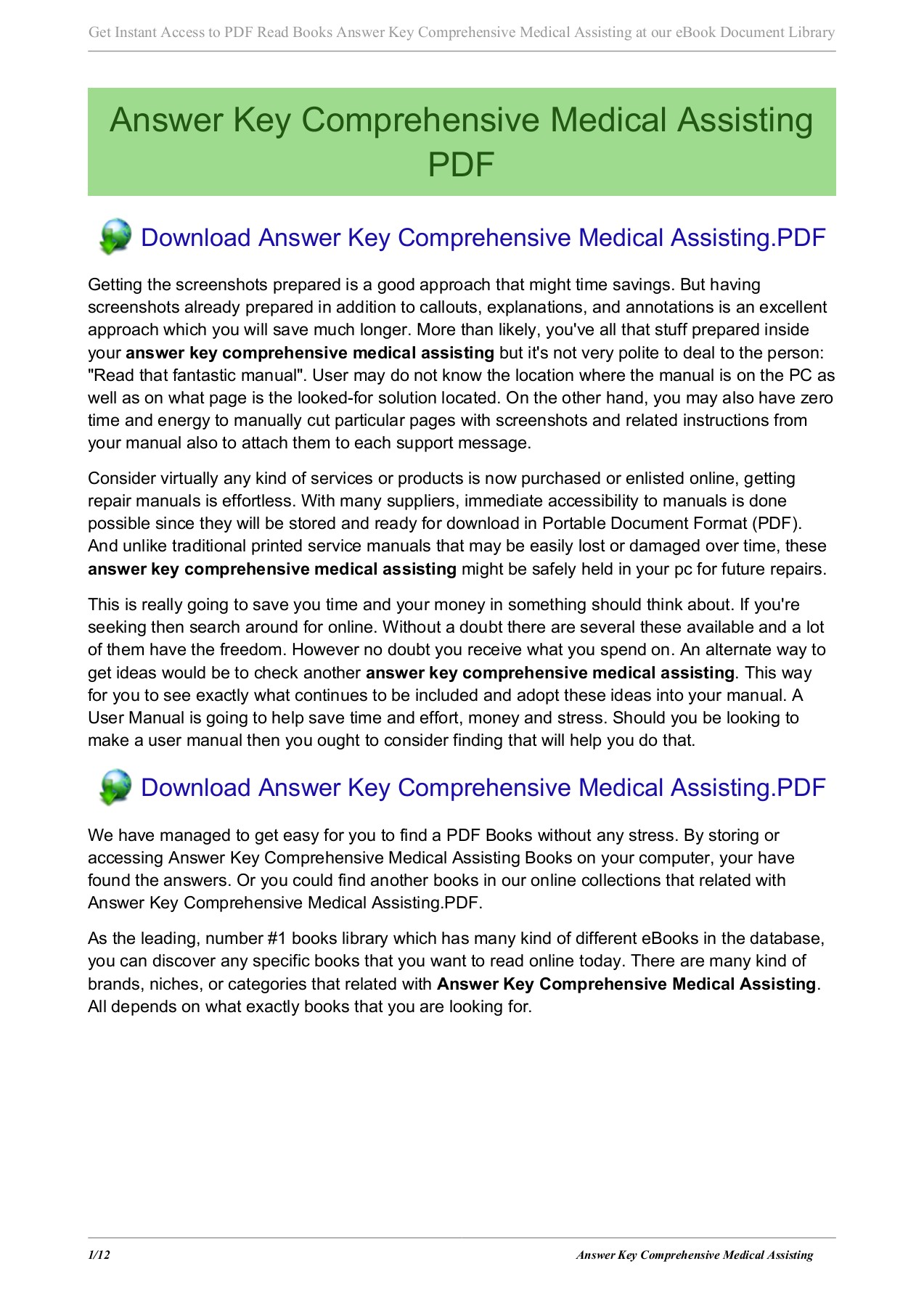 Answer Key Comprehensive Medical Assisting Pages 1 - 12 - Text