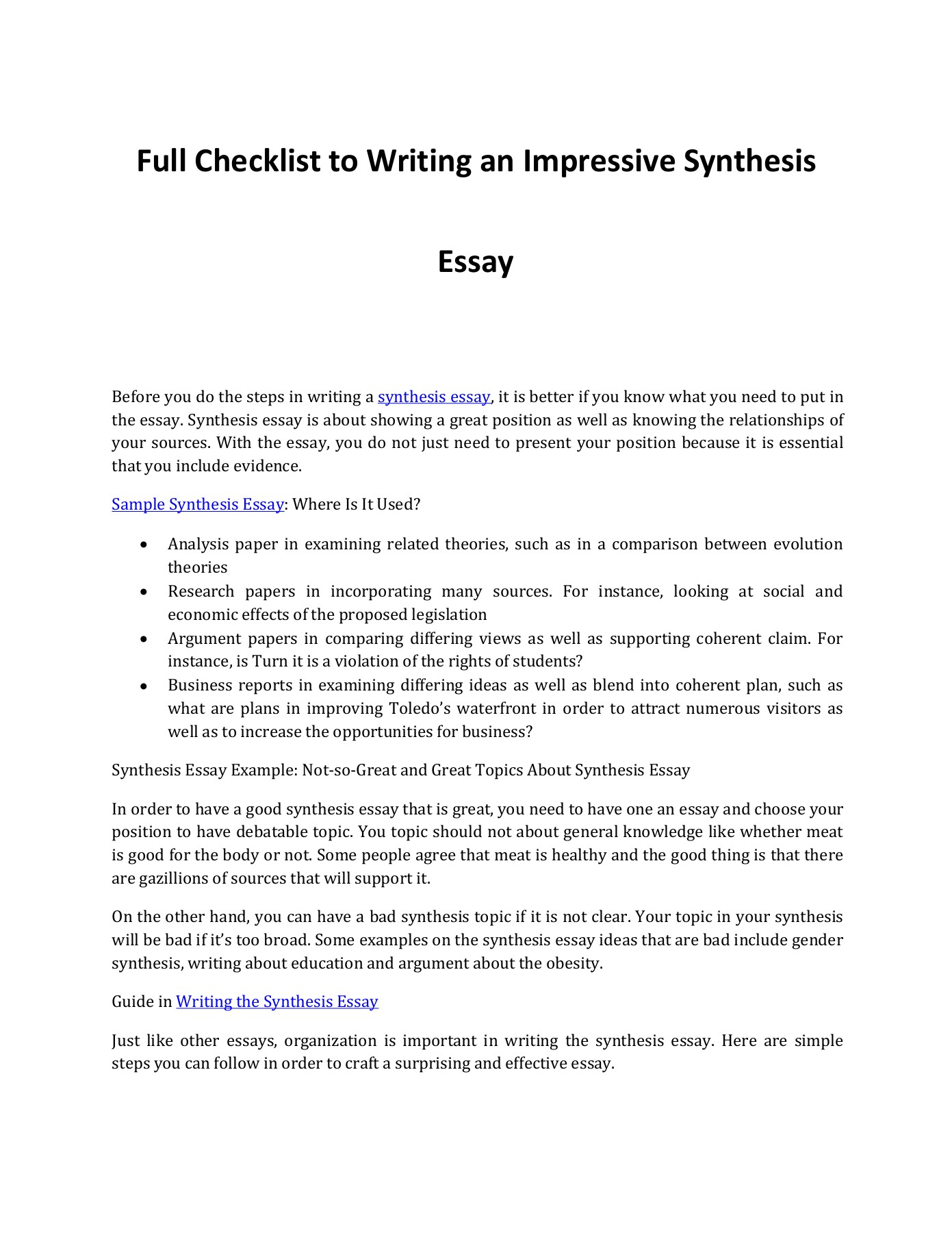 writing an impressive synthesis essay pages     text version  what do you need to remember when writing a synthesis essay check out this  post for important pointers and topic suggestions in writing one