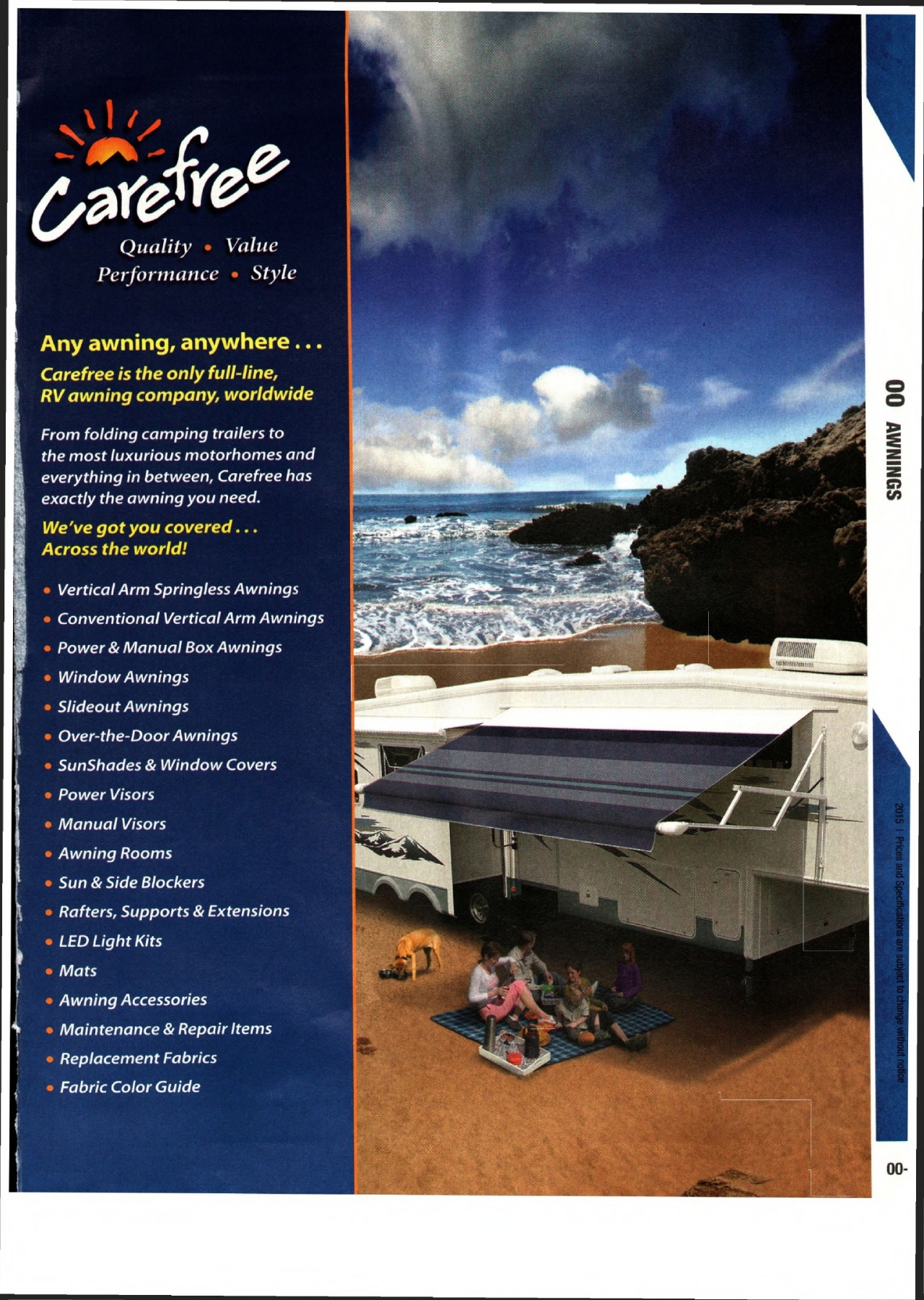 Solera Universal Fit Heavy-Duty Vinyl RV Patio Awning Replacement Fabric Blue Fade 15 Awning 144 Fabric
