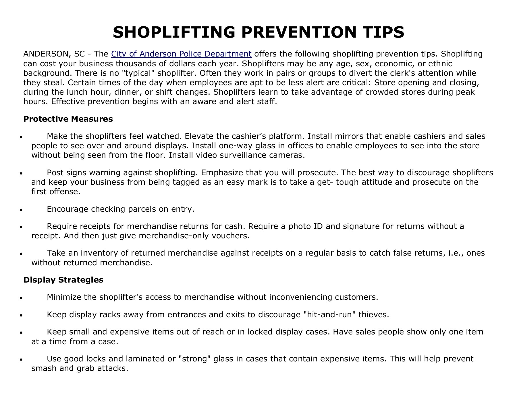 SHOPLIFTING PREVENTION TIPS - ANDERSON PD