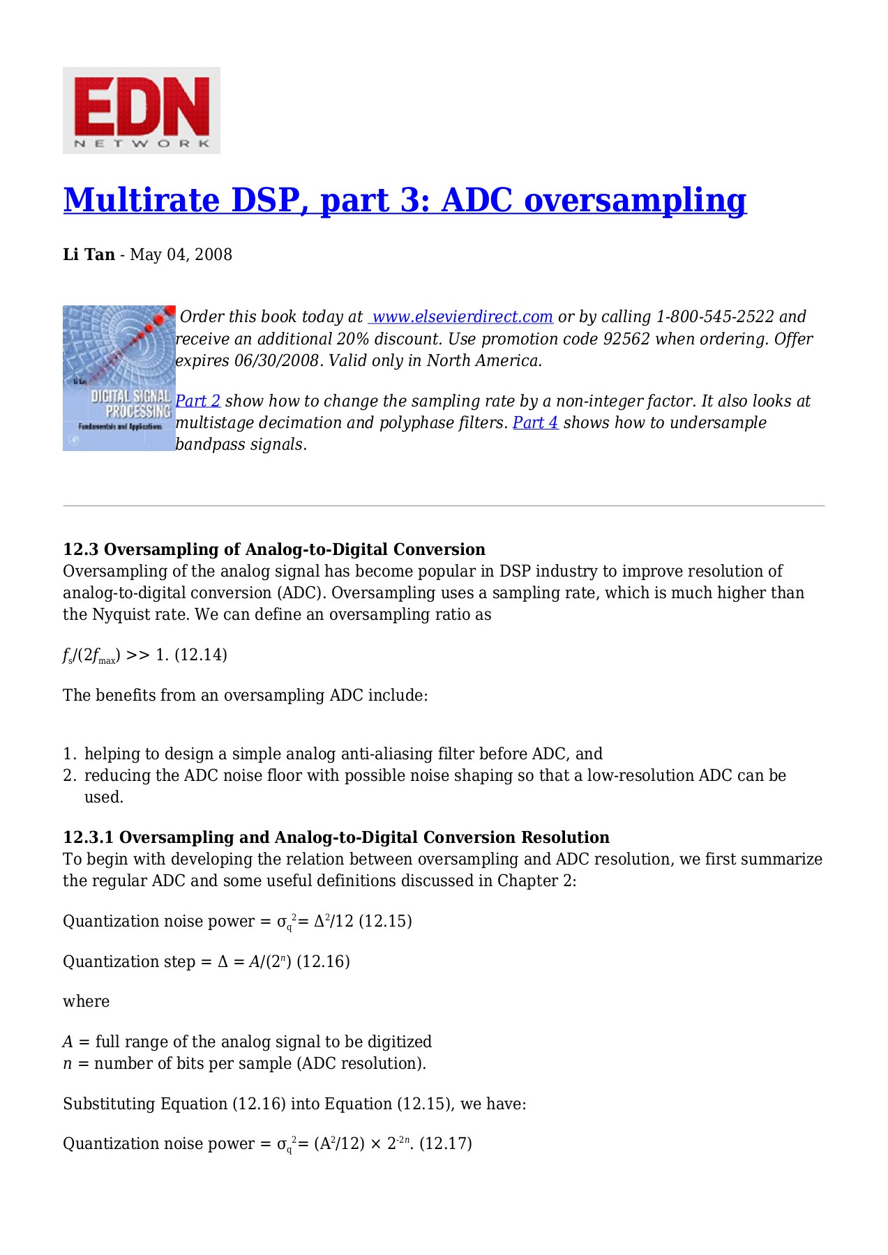 Multirate DSP, part 3: ADC oversampling Pages 1 - 10 - Text