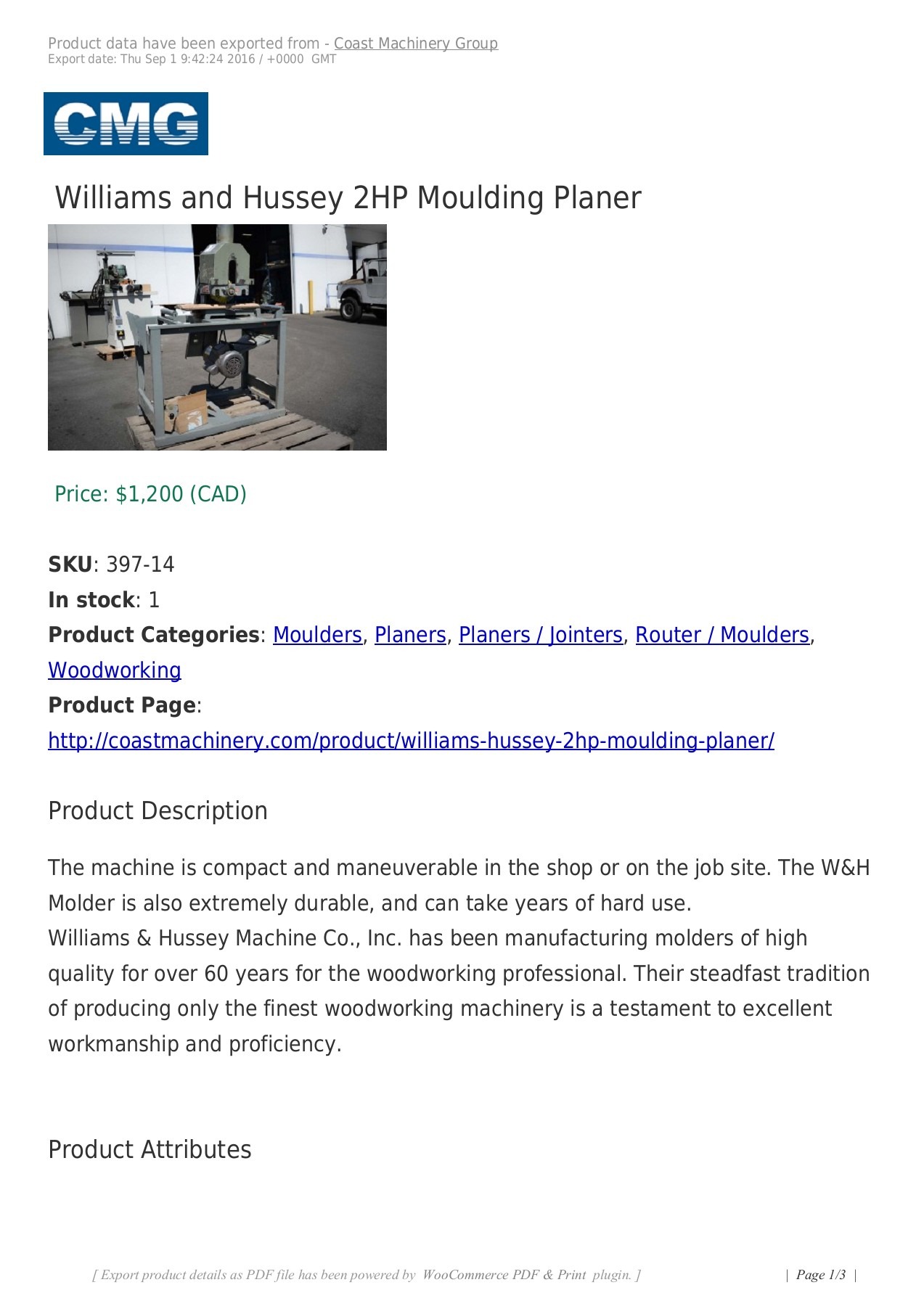 Williams and Hussey 2HP Moulding Planer Pages 1 - 3 - Text