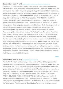 the Latest Lottery Results section of Global Lottery     Pages 1 - 3