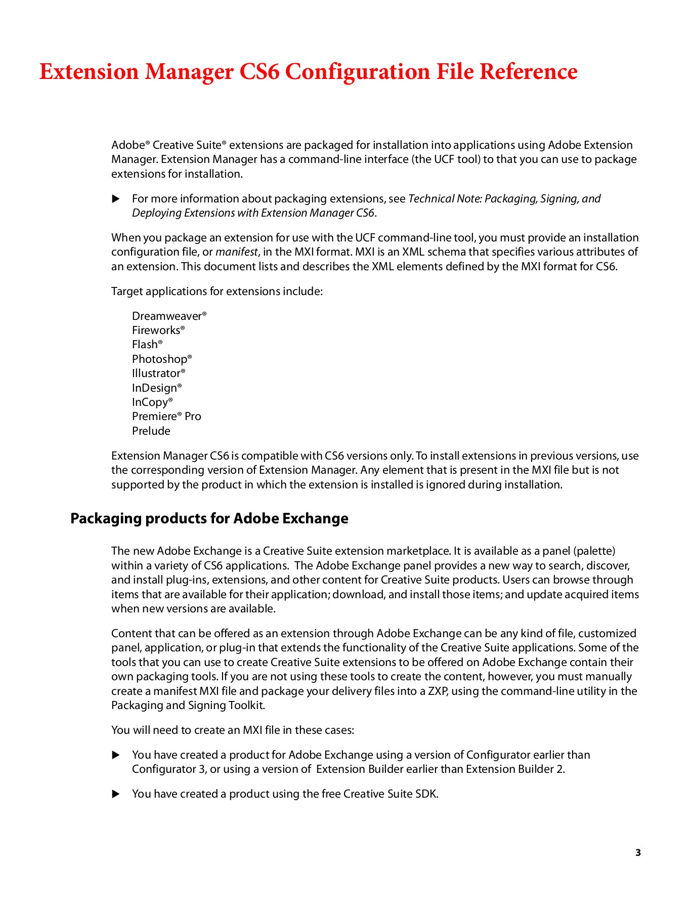 Extension Manager CS6 Configuration Reference