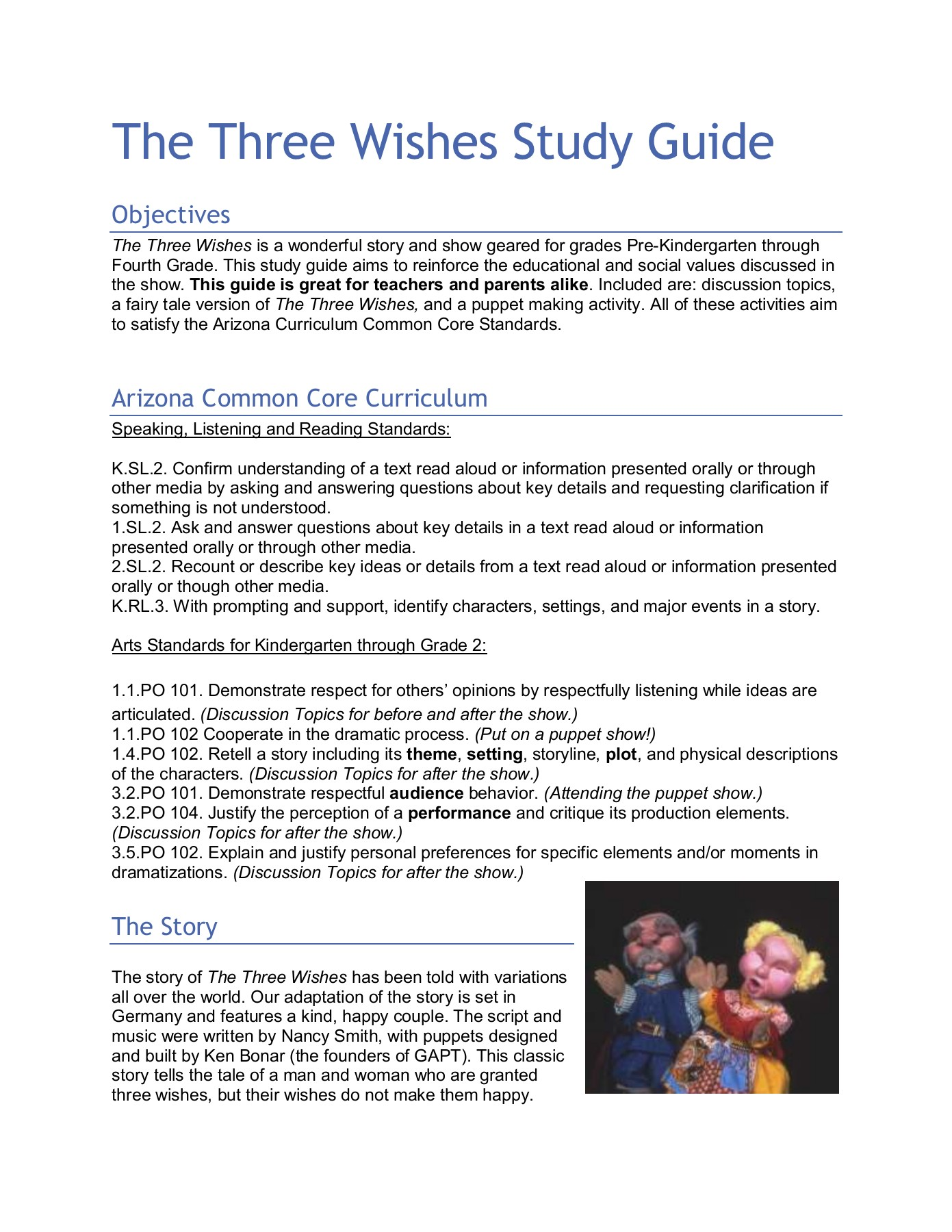 The Three Wishes Study Guide - Great Arizona Puppet Theater