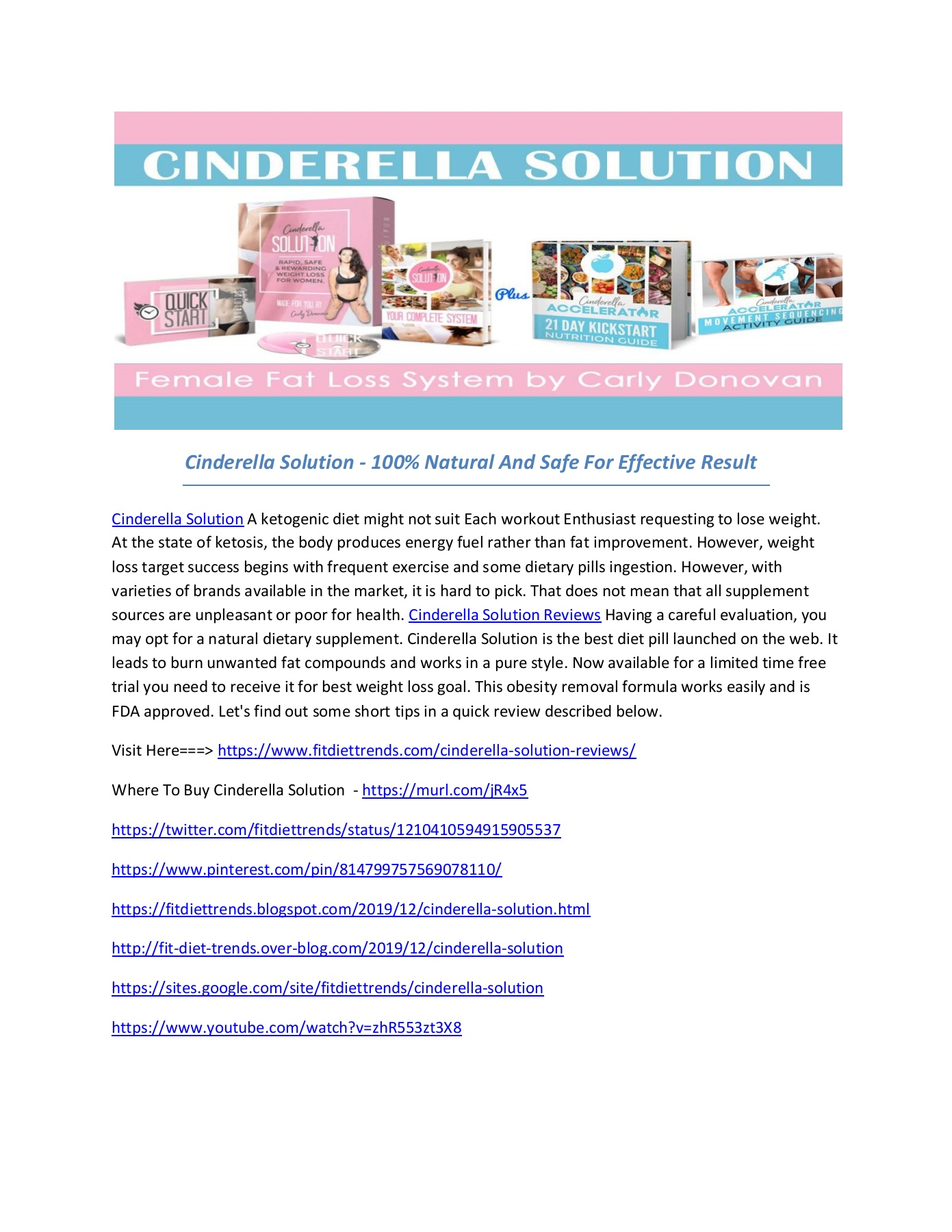 Features  Cinderella Solution Diet