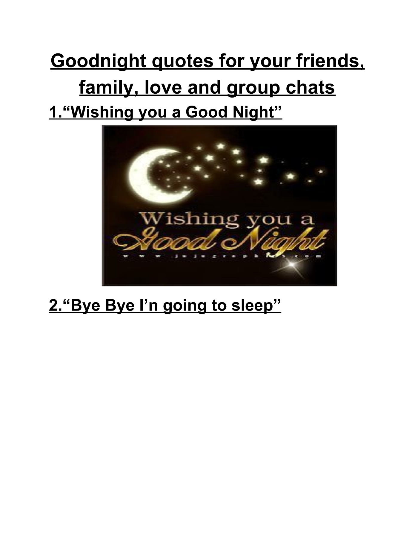 goodnight quotes for your friends family love and group chats