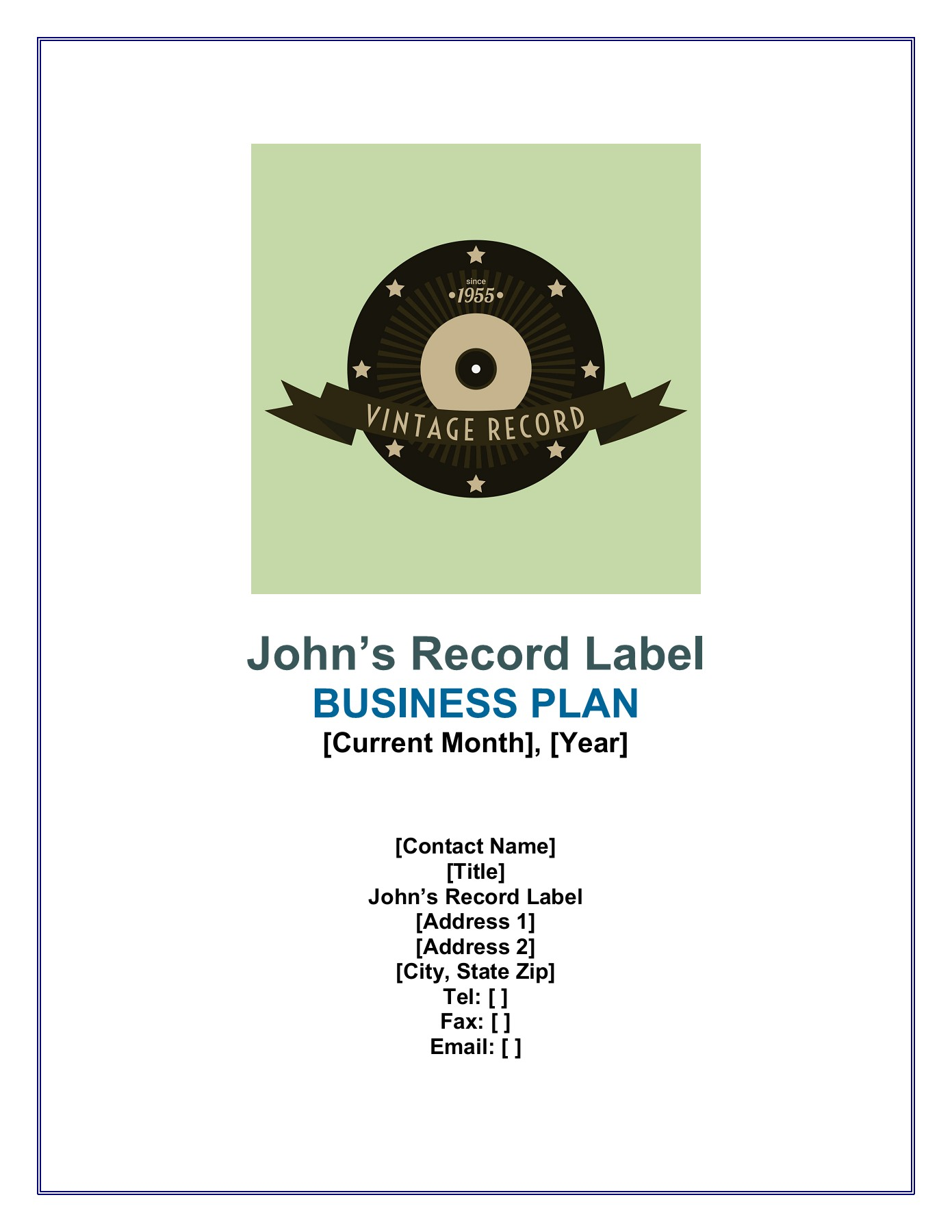 Sample Record Label Business Plan Pages 1 - 27 - Text