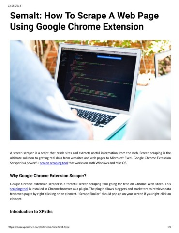 Semalt: How To Scrape A Web Page Using Google Chrome