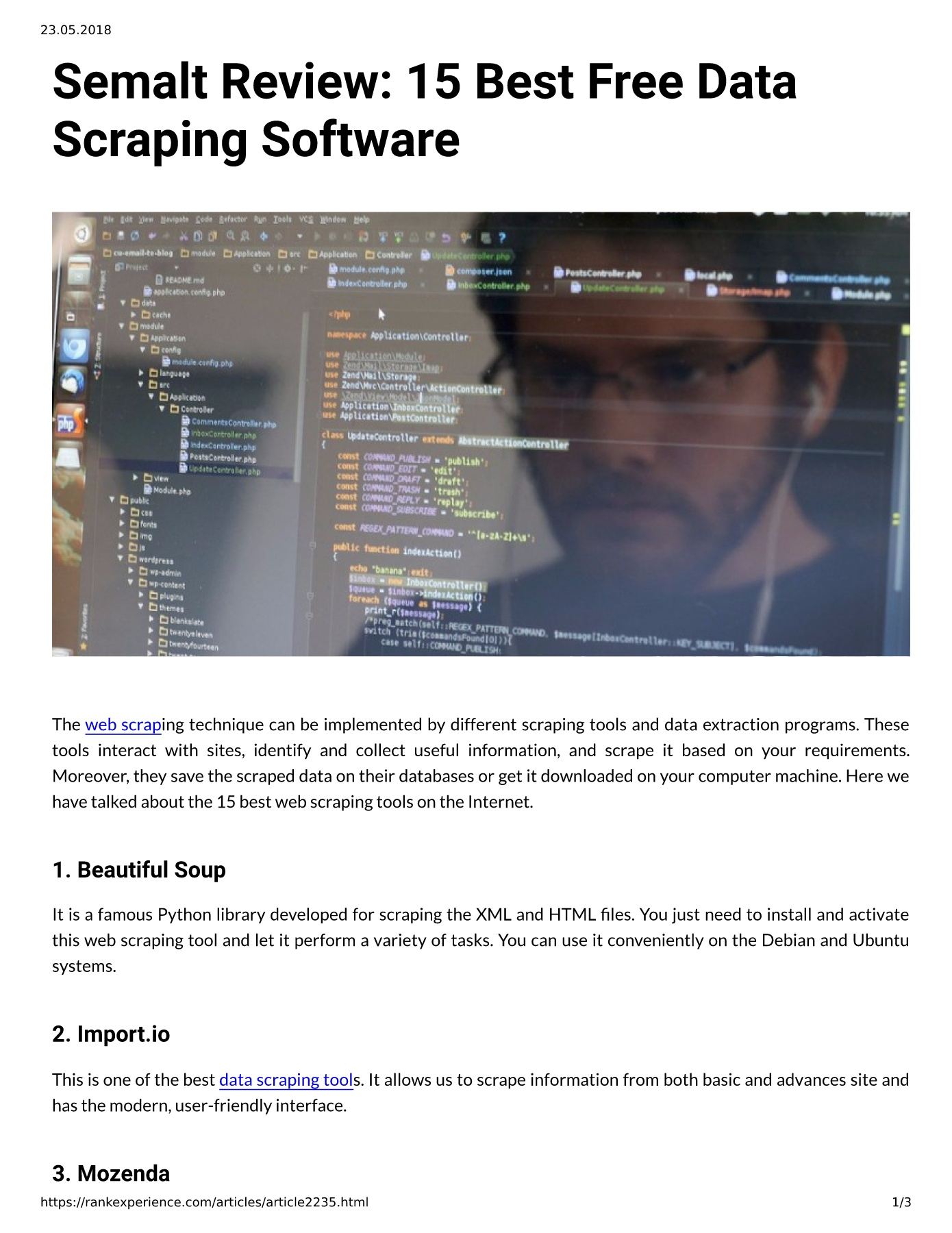 Semalt Review: 15 Best Free Data Scraping Software Pages 1