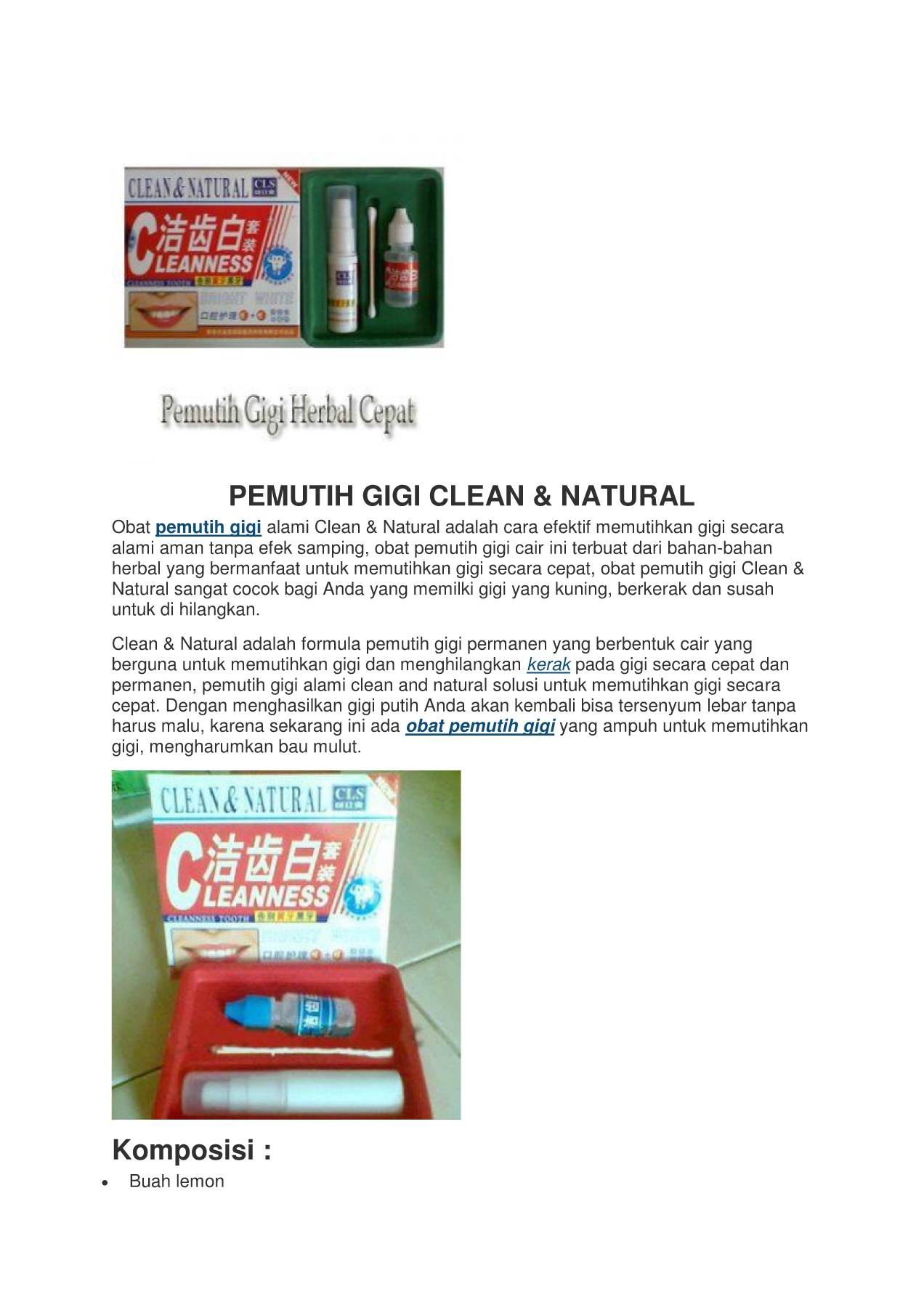 Pemutih Gigi Clean And Natural Pages 1 4 Text Version Anyflip