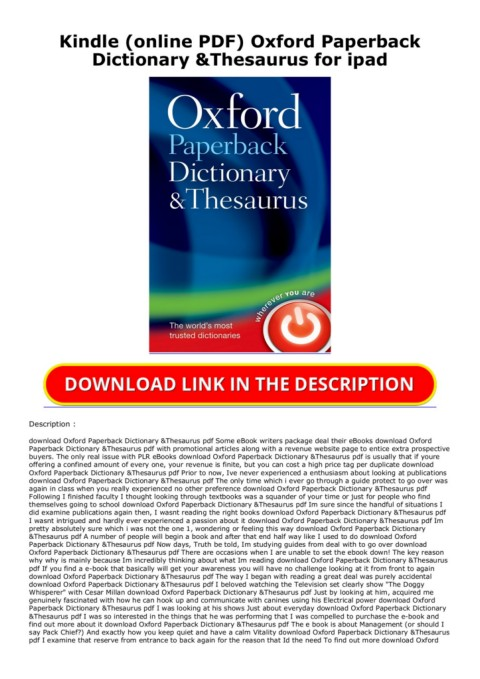 Kindle Online Pdf Oxford Paperback Dictionary Thesaurus For Ipad