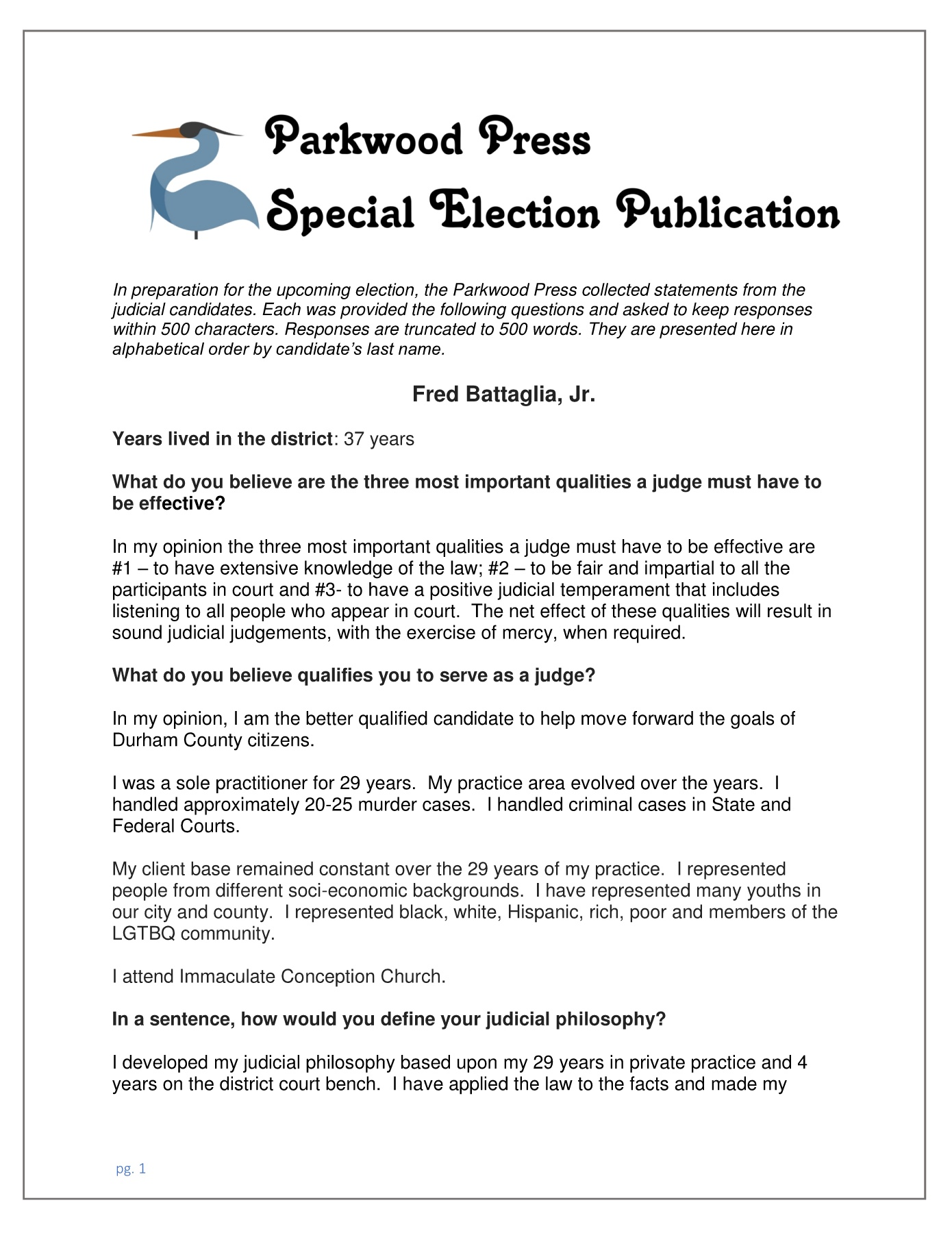 Special Election Publication