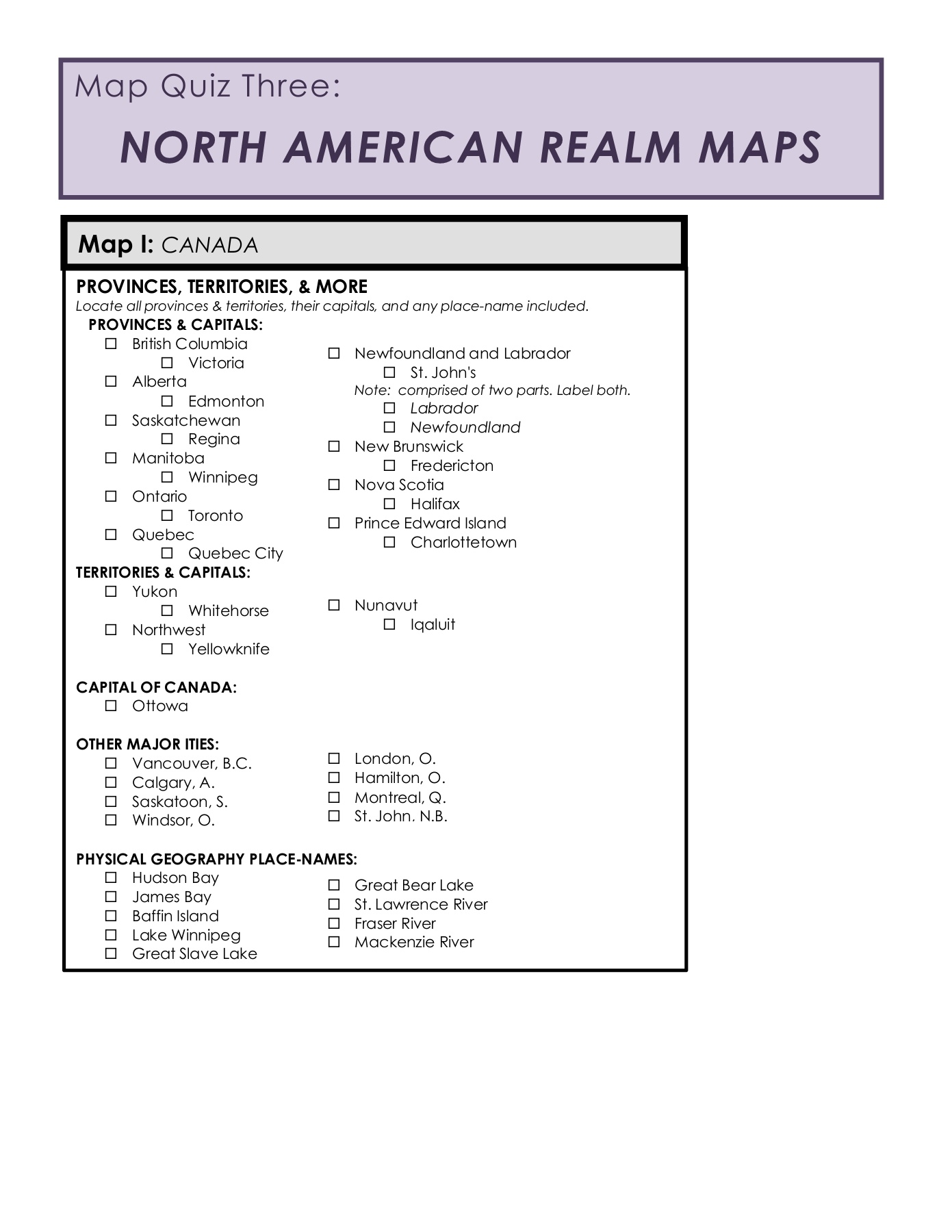Map Of Canada Online Quiz.Map Quiz 3 Assignment Pages 1 16 Text Version Anyflip