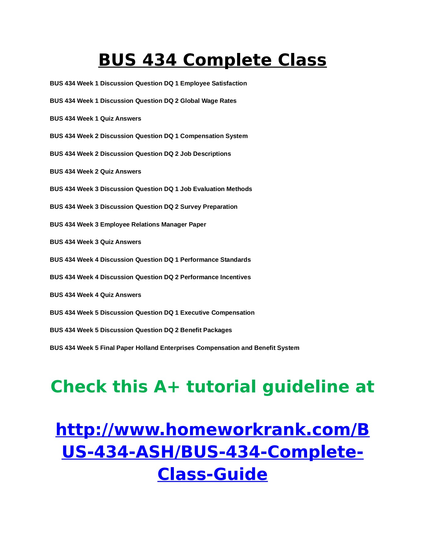 BUS 434 Entire Course by Ashford University Pages 1 - 2