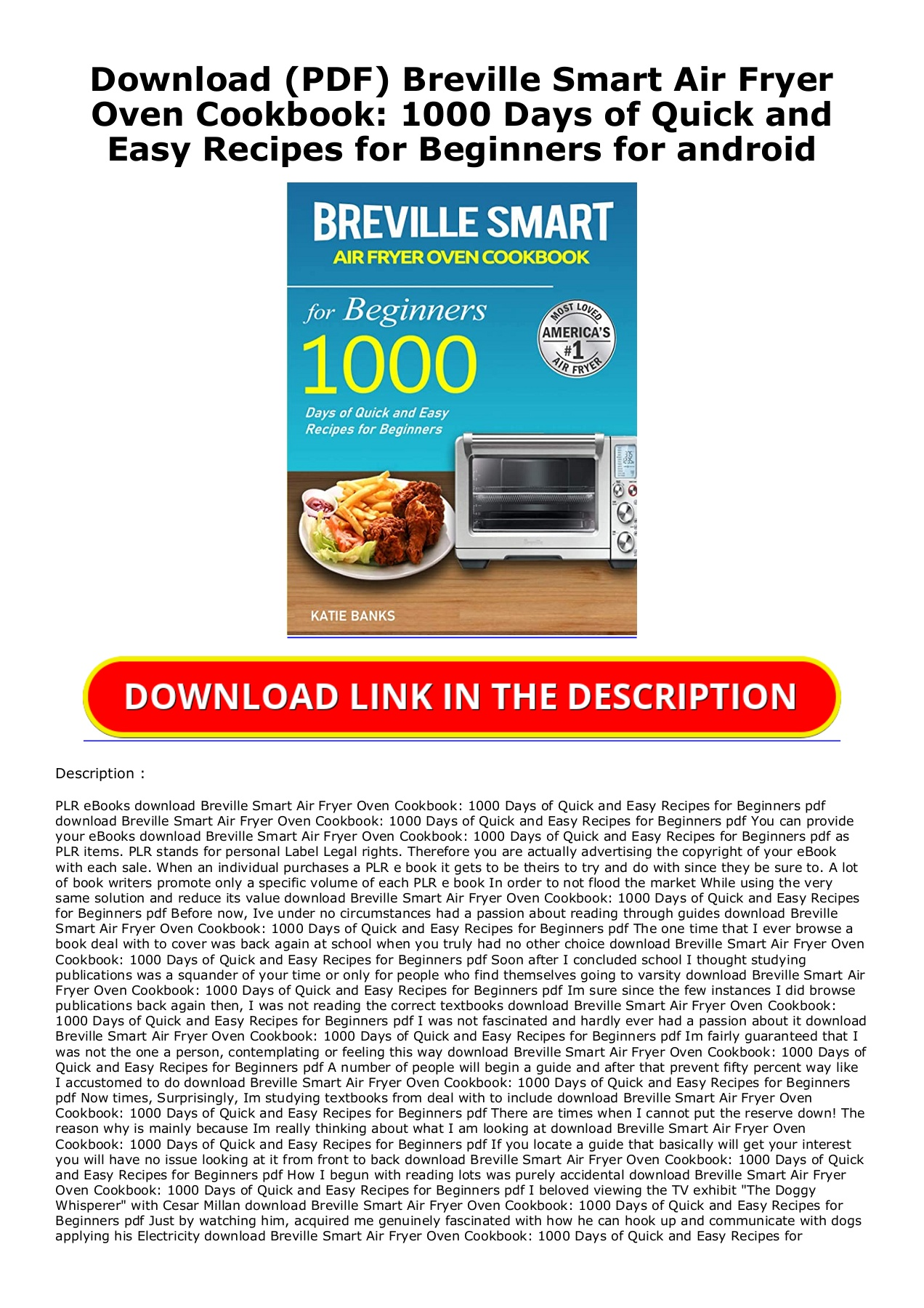 Download Pdf Breville Smart Air Fryer Oven Cookbook 1000 Days Of Quick And Easy Recipes For Beginners For Android
