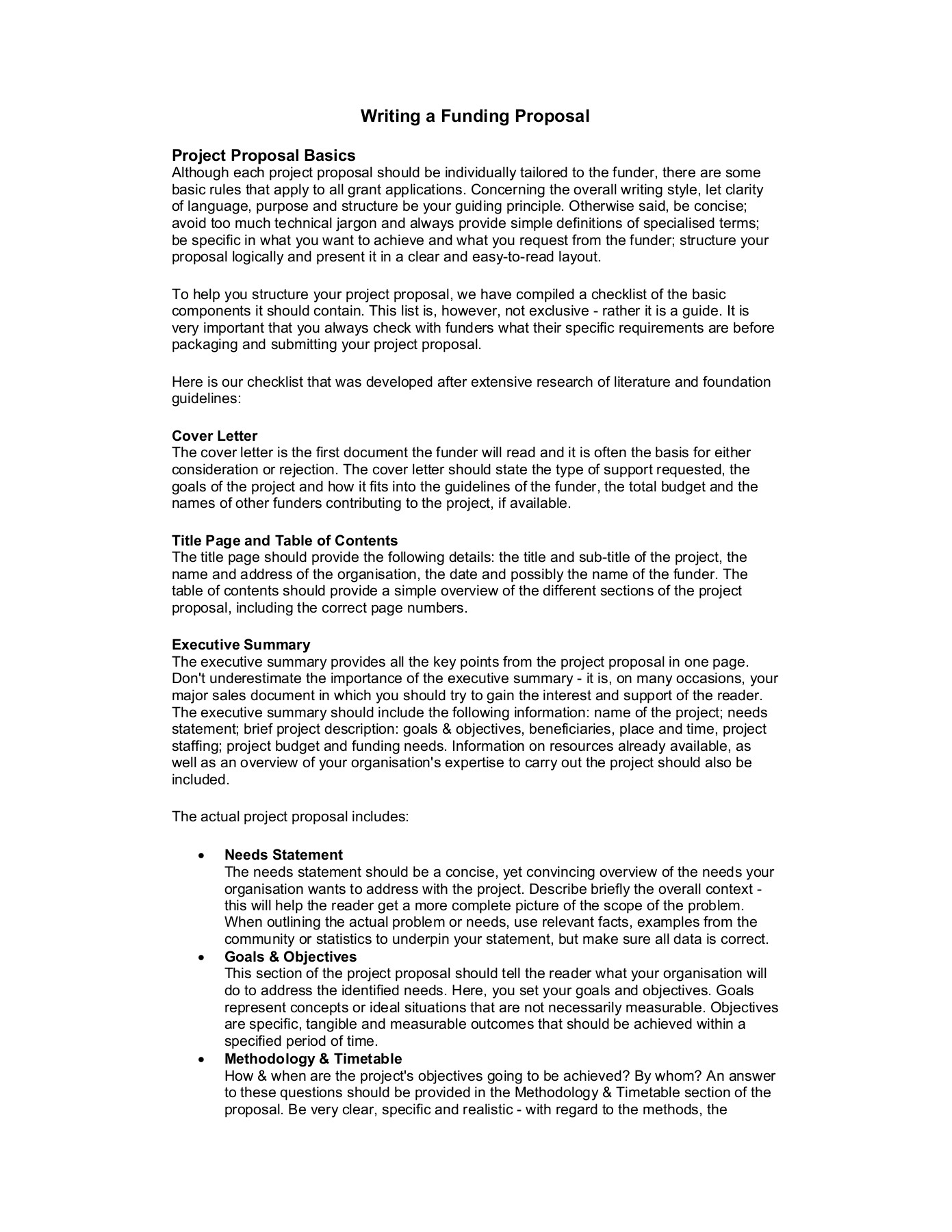Writing A Funding Proposal Pages 1 2 Text Version