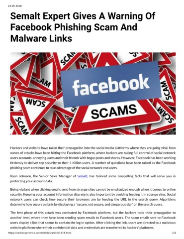 Semalt Expert Gives A Warning Of Facebook Phishing Scam