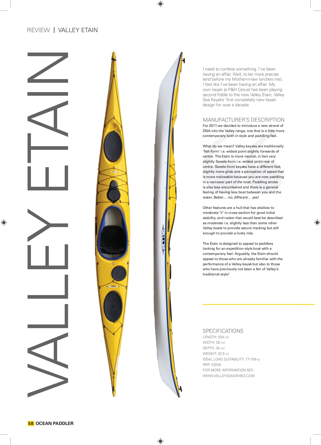 rEVIEW VallEy EtaIn - Expedition Kayaks Pages 1 - 6 - Text