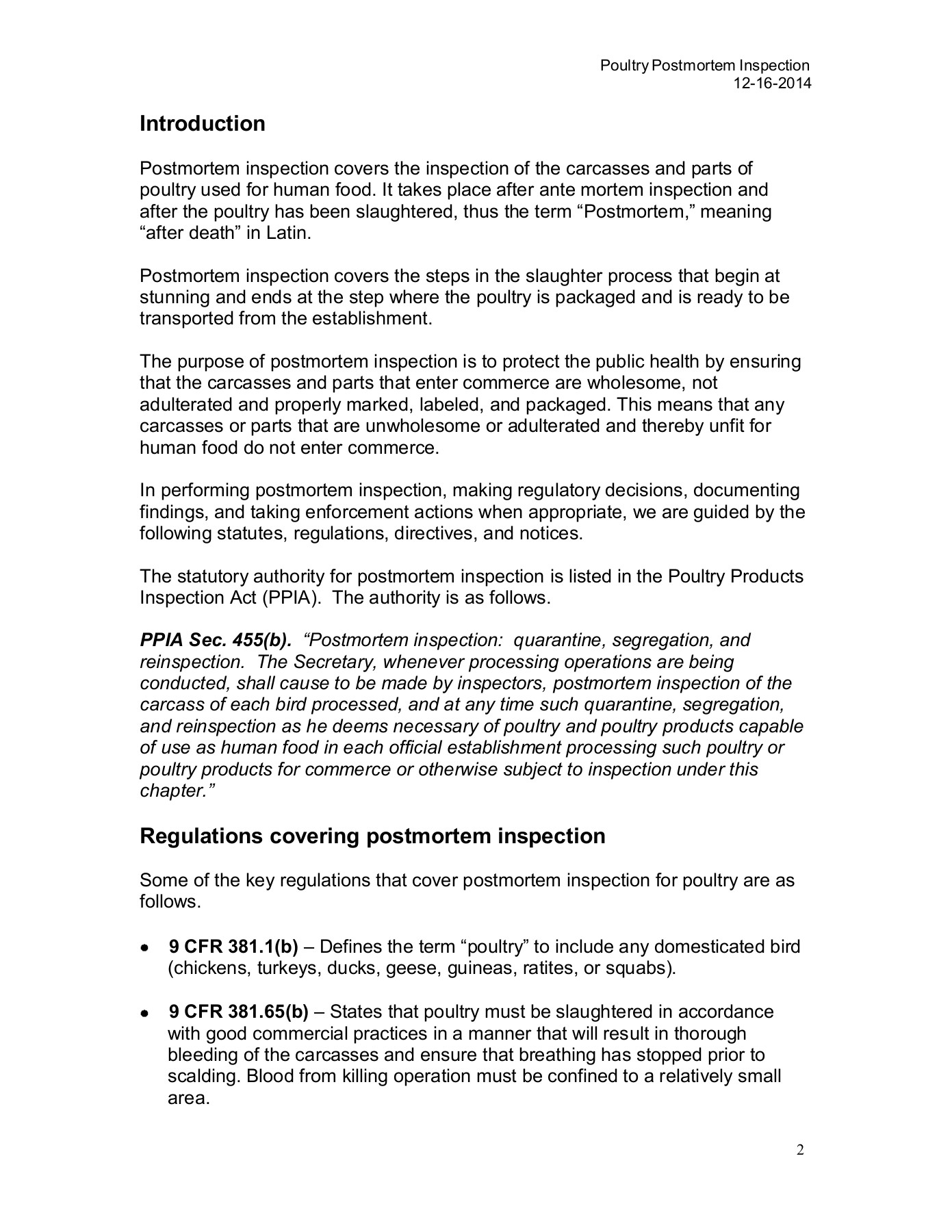 Poultry Postmortem Inspection Pages 1 - 50 - Text Version