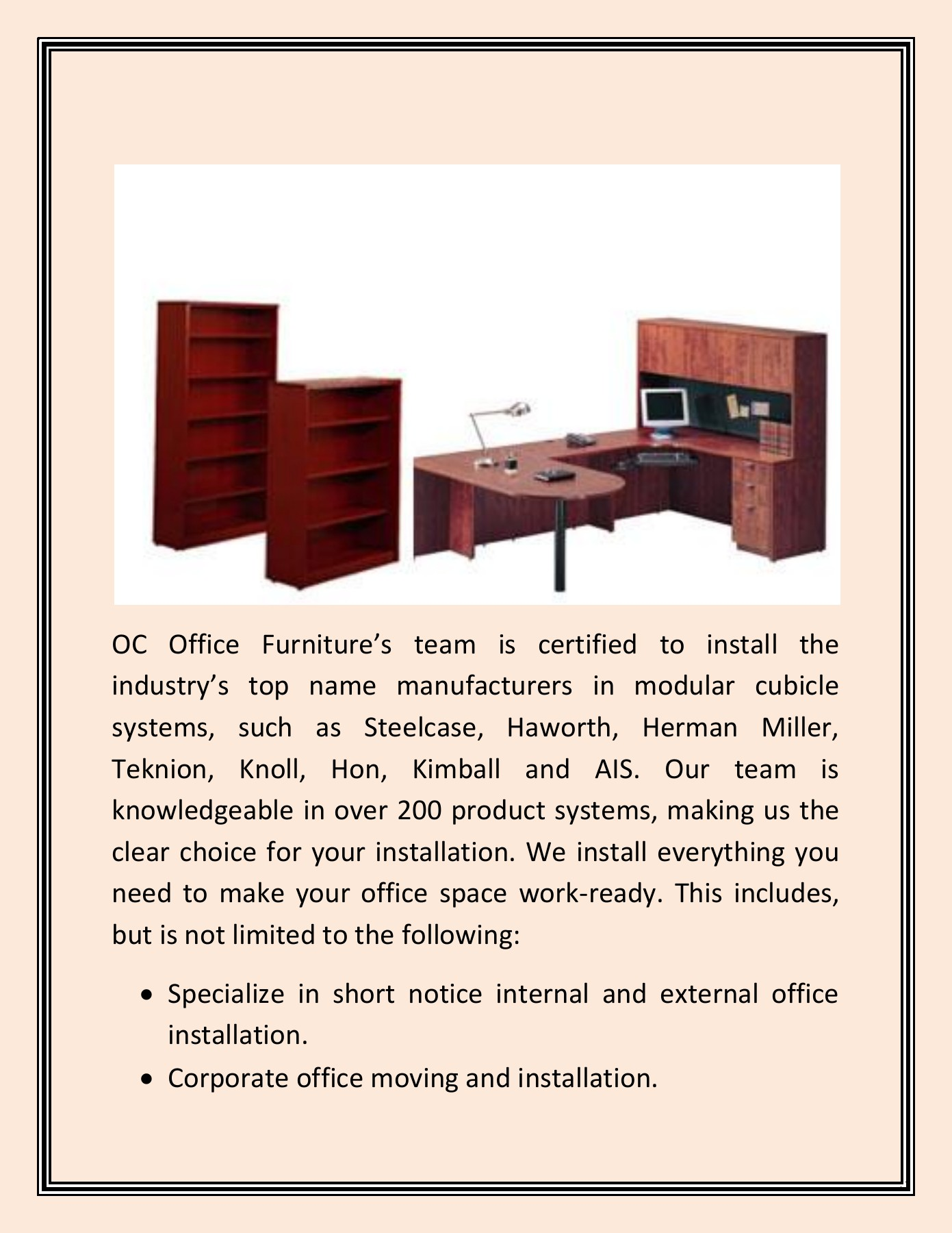 Oc Office Furniture Installs Your Cubicle Furniture Safely