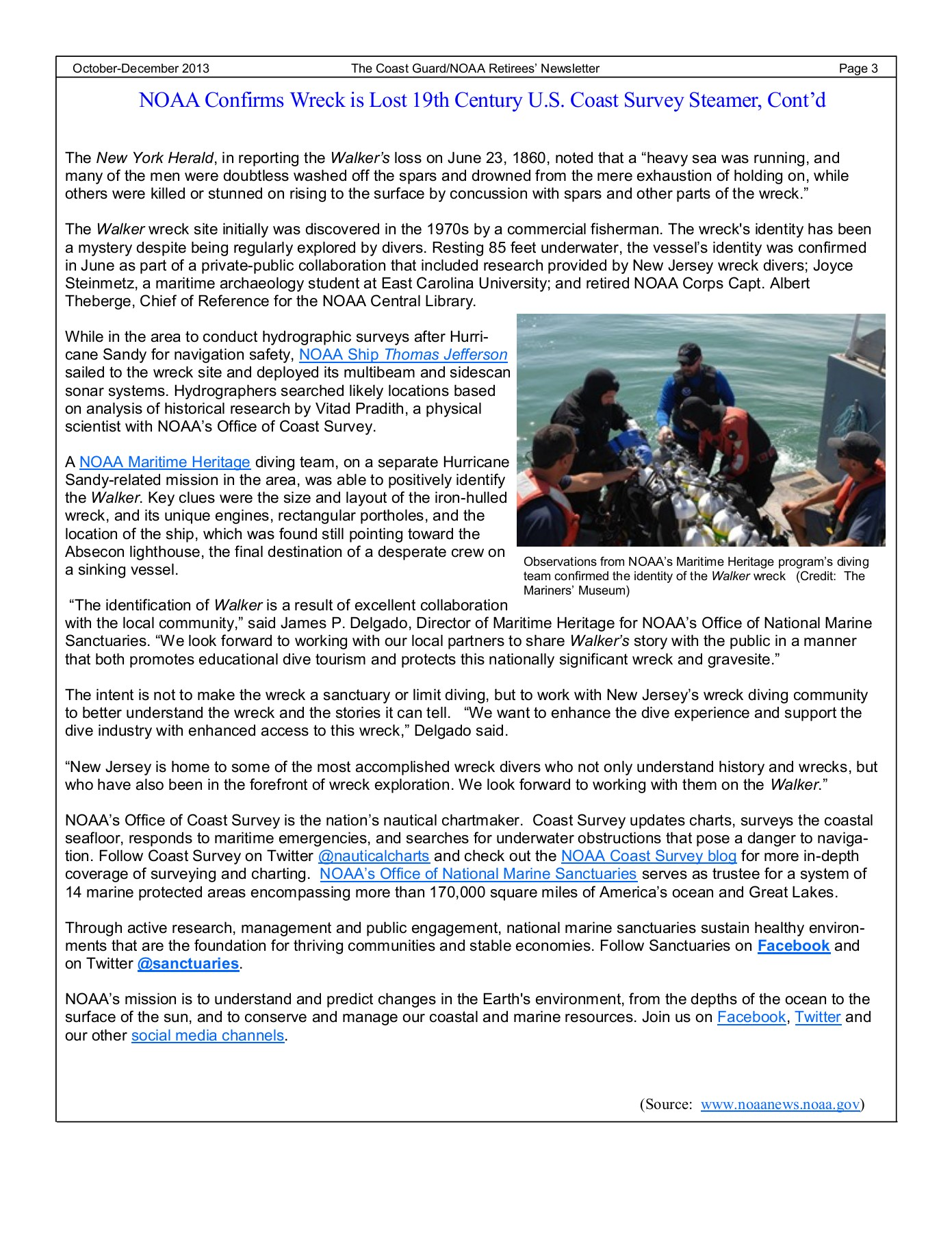 The Coast Guard/NOAA Retirees' Newsletter - USCG Pages 1 - 20 - Text