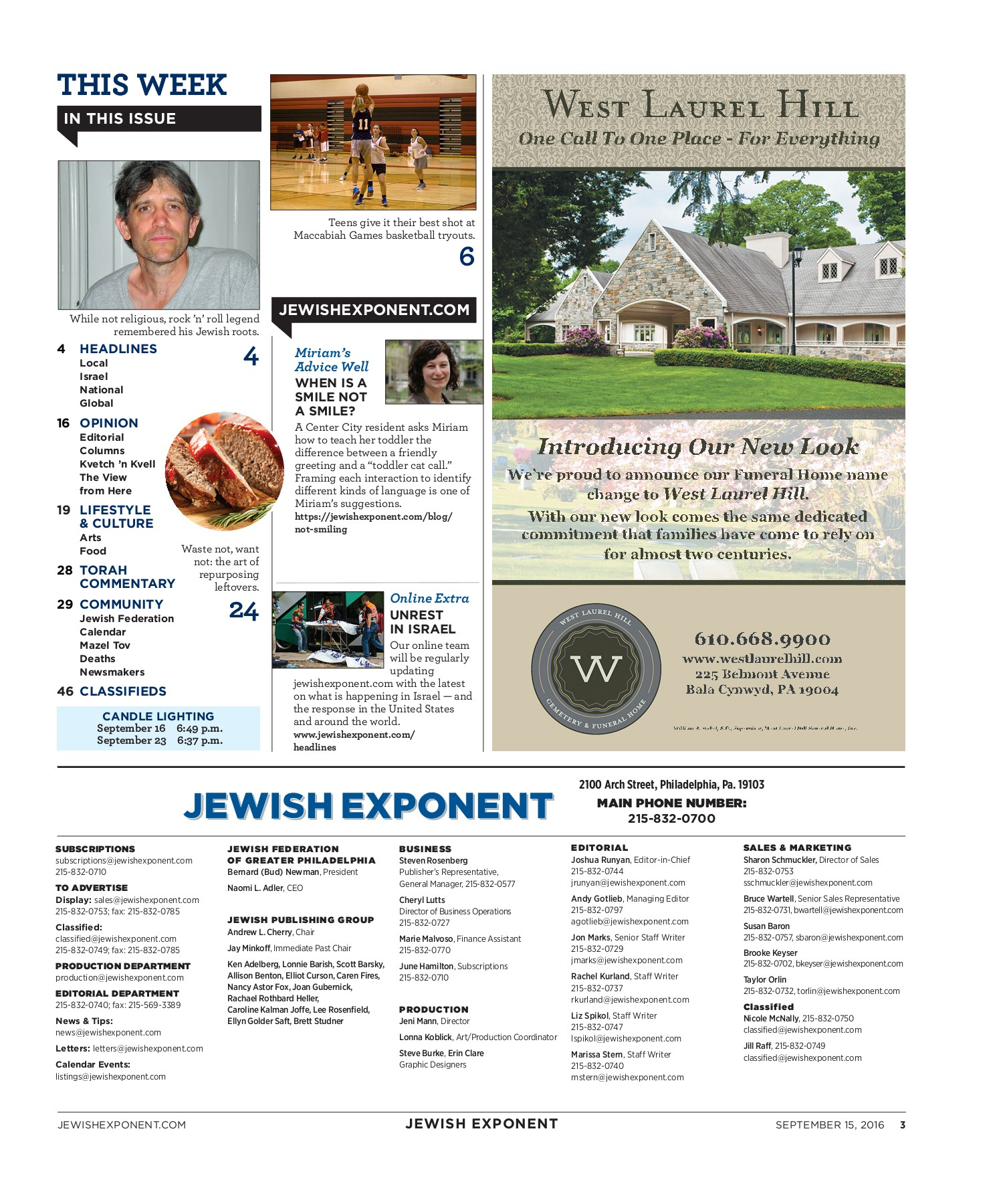 Jewish Exponent Sept  15, 2016 Pages 1 - 50 - Text Version