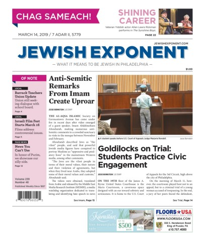Jewish Exponent March 14, 2019 Pages 1 - 40 - Text Version