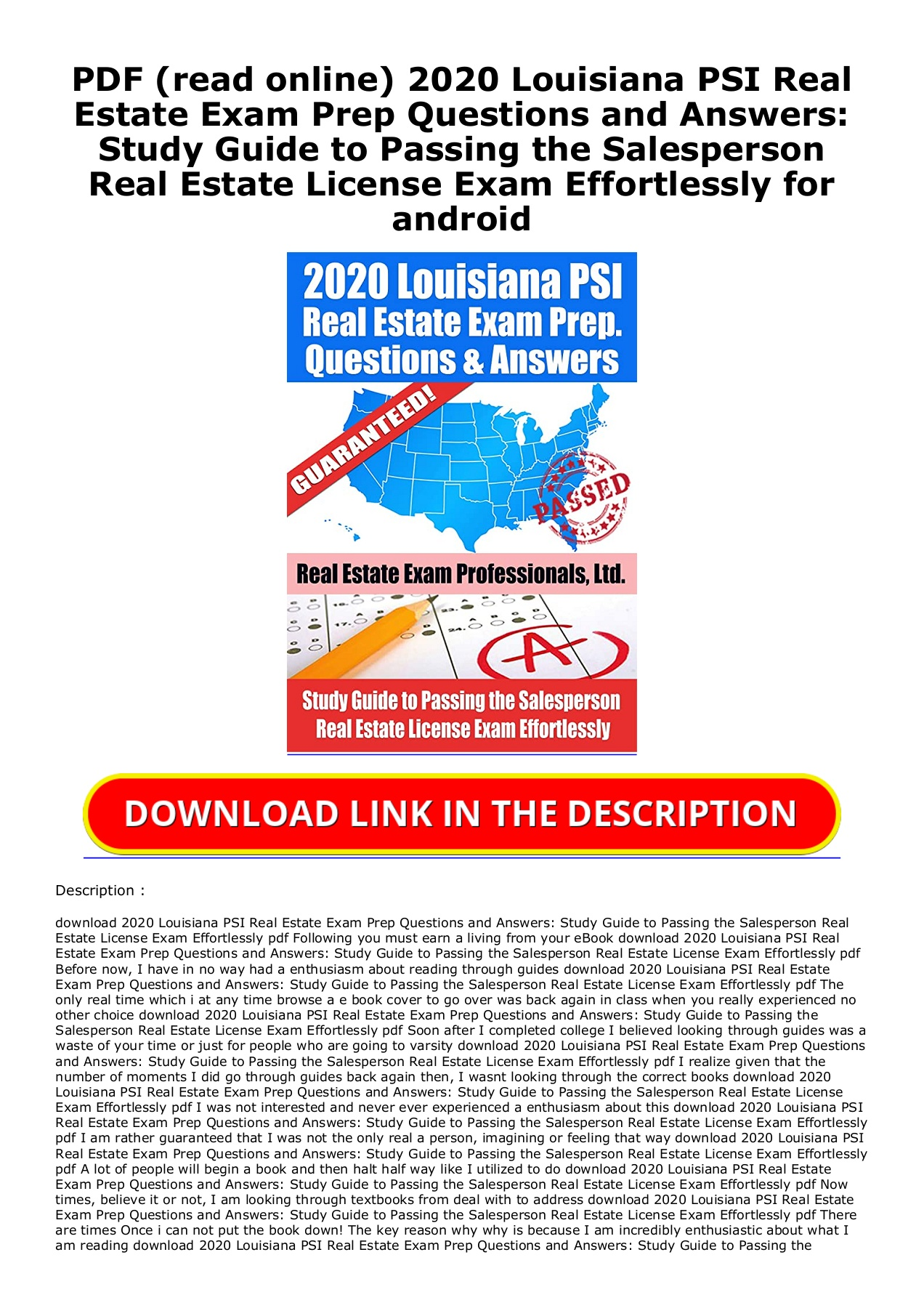 Pdf Read Online 2020 Louisiana Psi Real Estate Exam Prep Questions And Answers Study Guide To Passing The Salesperson Real Estate License Exam Effortlessly For Android Flip Ebook Pages 1 2 Anyflip Anyflip