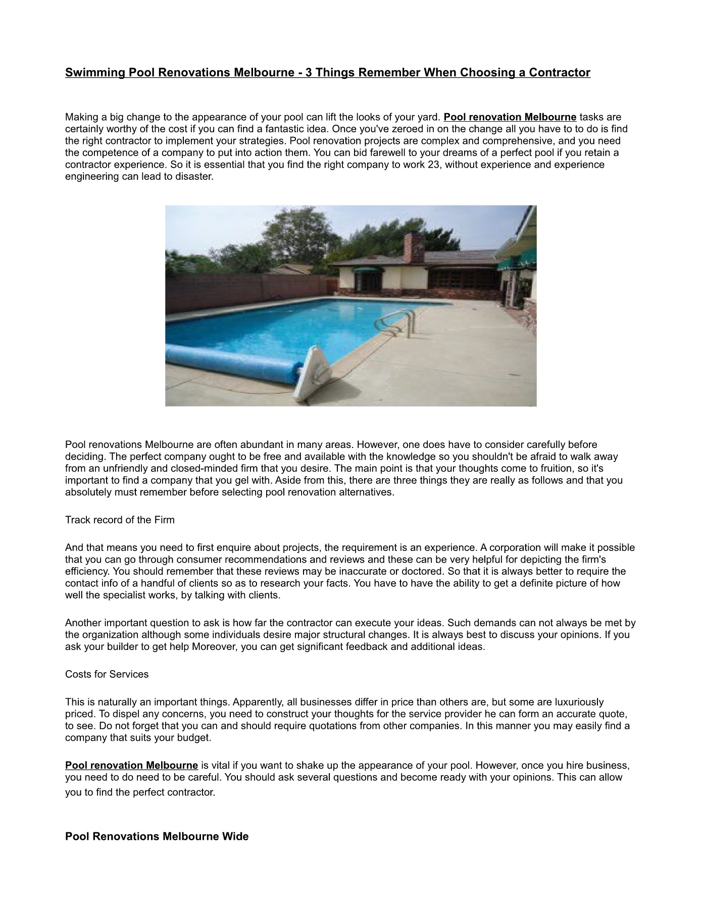 Pool Renovations Melbourne Wide Pages 1 - 2 - Text Version ...