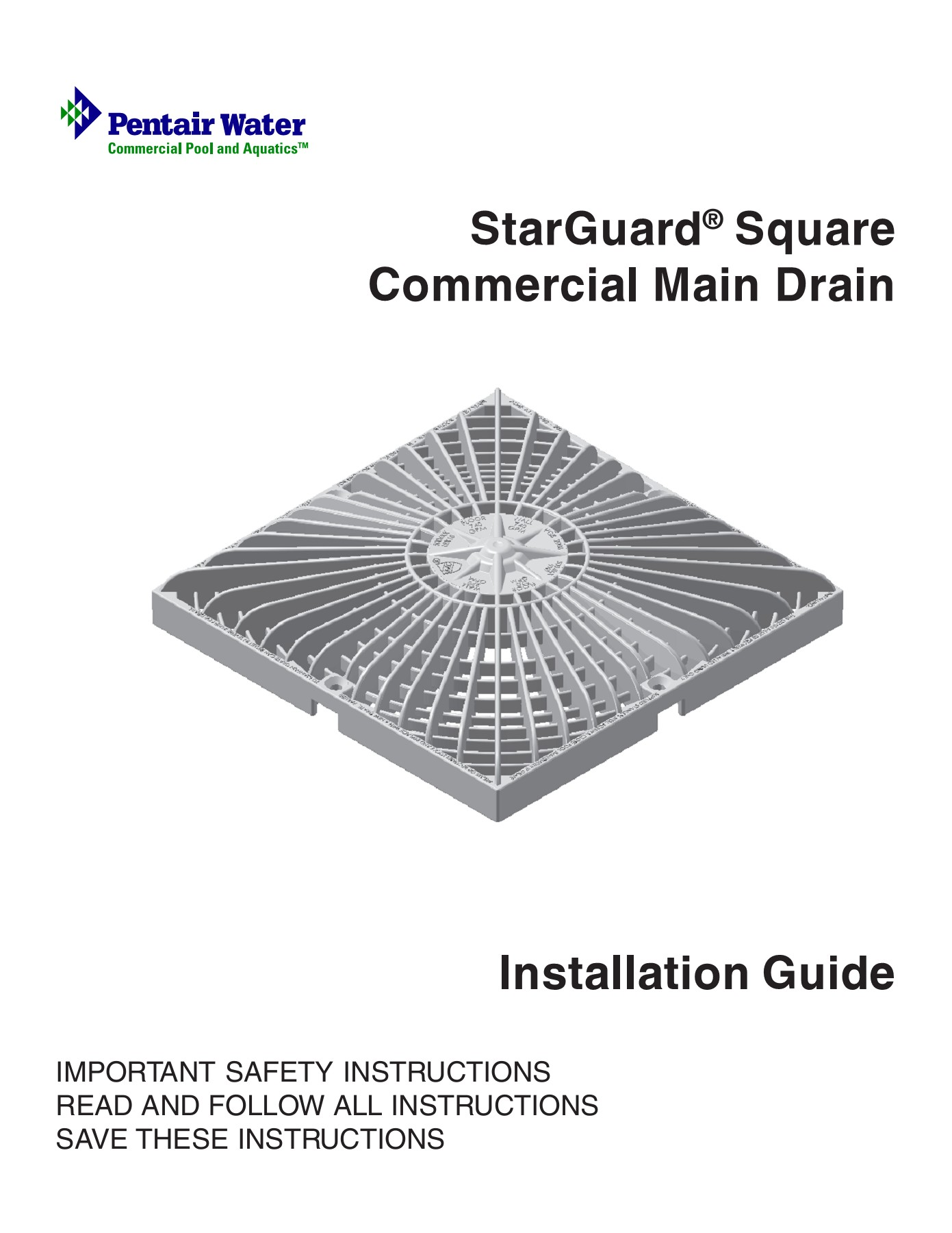 StarGuard Square Commercial Main Drain - Pentair Pool Pages