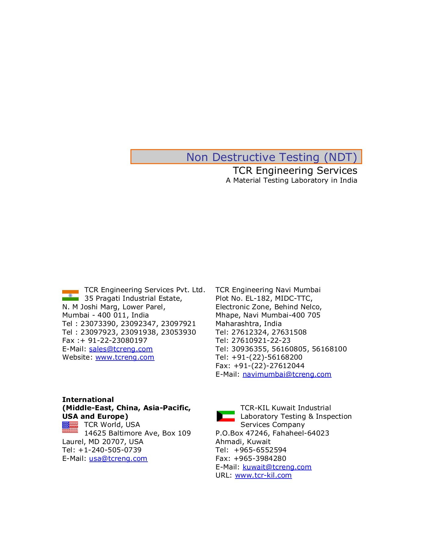 Non Destructive Testing (NDT) - TCR ENGINEERING LIMITED