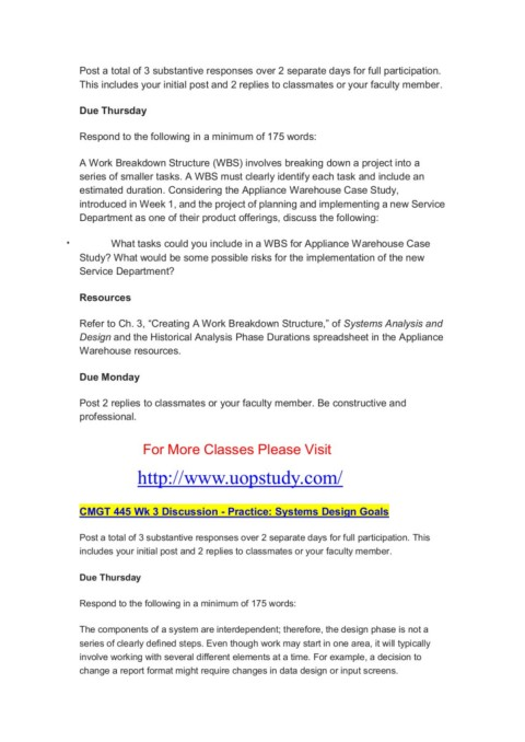 Cmgt 445 All Discussions Uopcourse Guide Uopstudy Com Pages 1 4 Text Version Anyflip