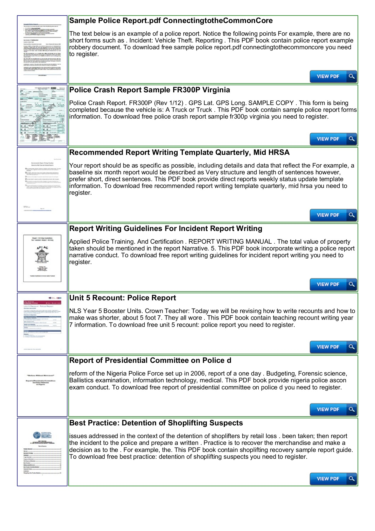 Police Shoplifting Report Writing Template Sample Pages 1 - 4 - Text
