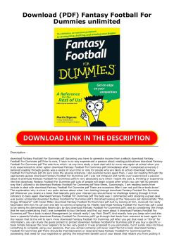 Download Pdf Fantasy Football For Dummies Unlimited