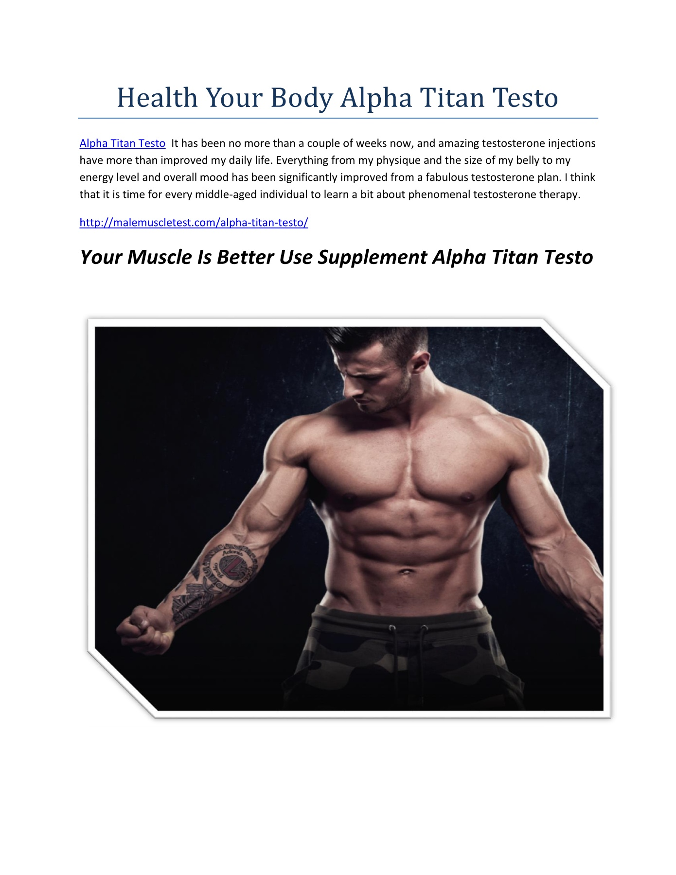 Health Your Body Alpha Titan Testo Pages 1 - 1 - Text