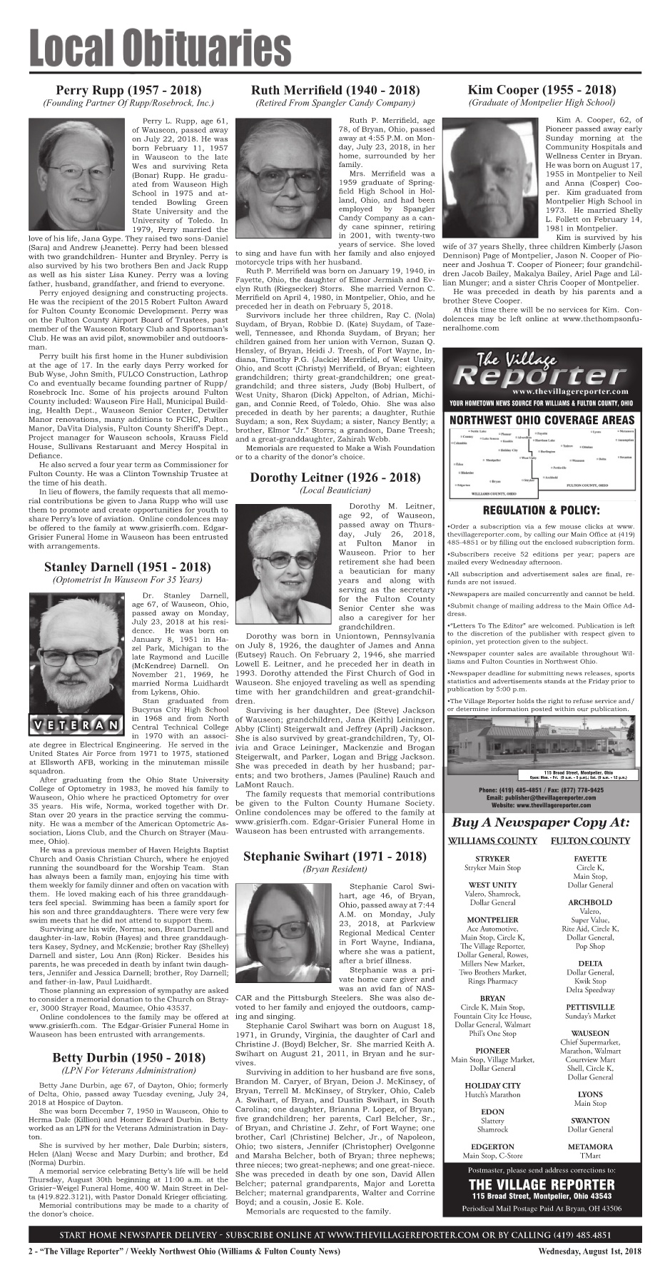 The Village Reporter - August 1st, 2018 Pages 1 - 46 - Text